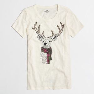 J Crew Christmas Reindeer scarf collector T-shirt